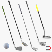 3d golf clubs ball
