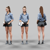 3d girl leather shorts jeans model