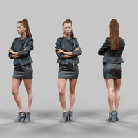 girl crossing arms leather 3d obj