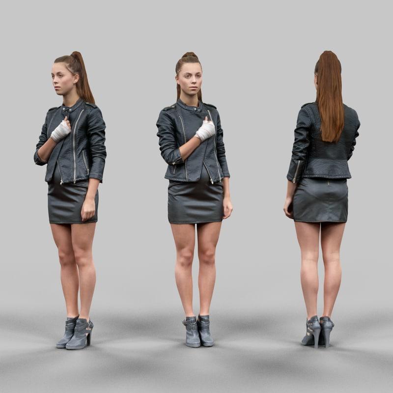 girl leather 3d obj