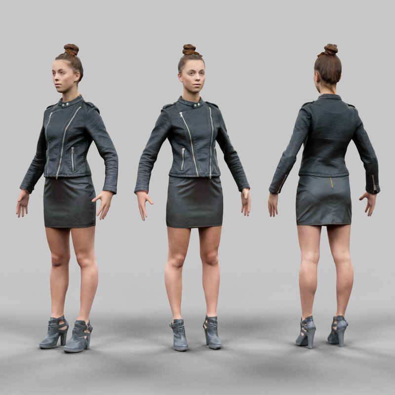 3d girl leather skirt