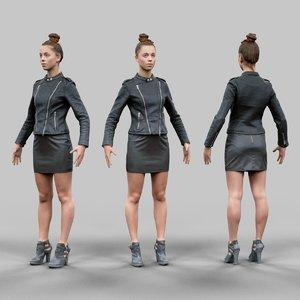 3d girl leather skirt