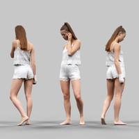 3d girl posing white lingerie model