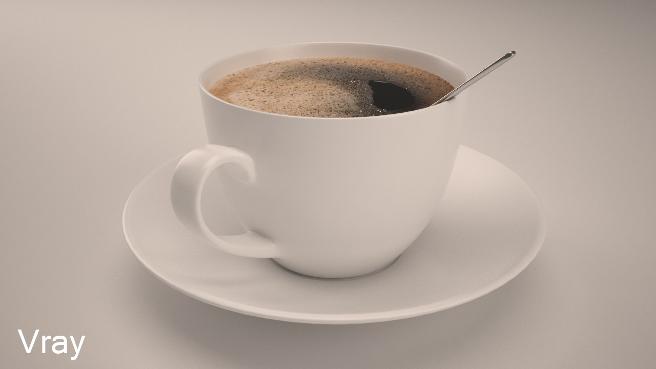 3d max realistic cup coffee