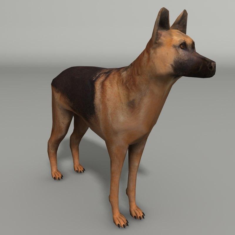 german shepard dog 3d max