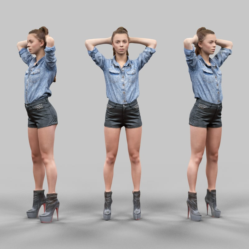 girl leather shorts hands 3d model
