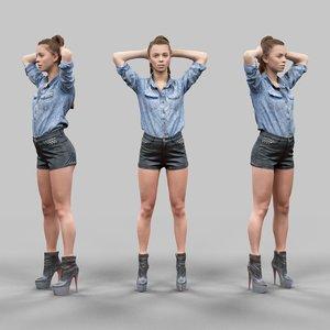girl leather shorts hands 3d model