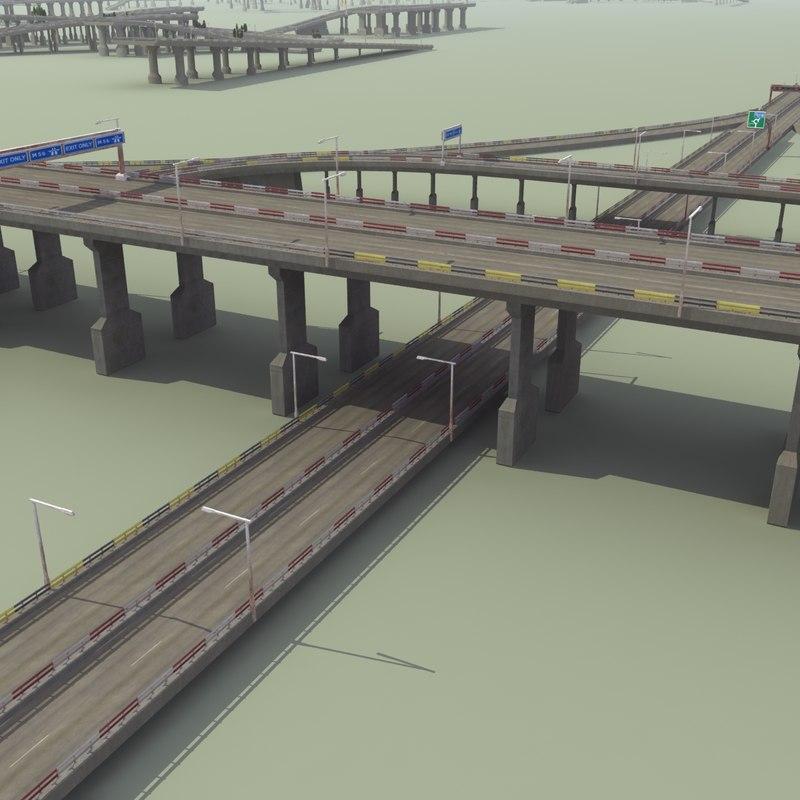 3d model highway road street lights