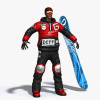 snowboarder 3d model
