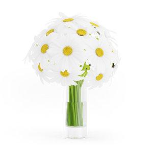 3d model of bouquet daisies glass vase