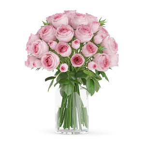 3d bouquet pink roses glass vase