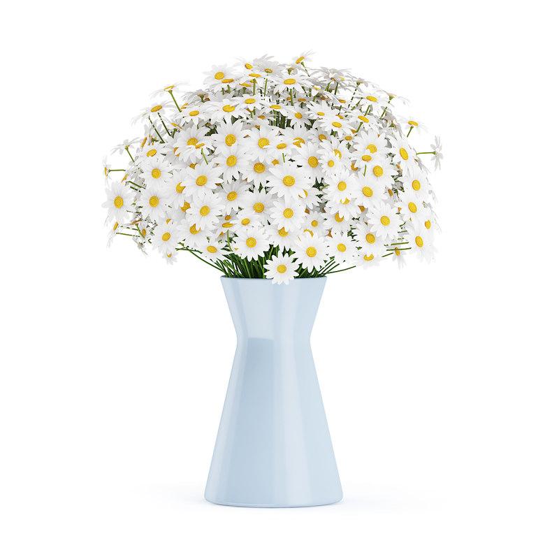 3d bouquet small daisies blue model