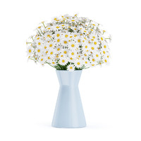 3d bouquet small daisies blue model