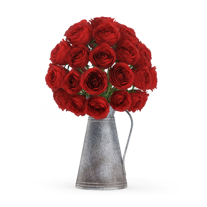 3d model bouquet red roses old metal