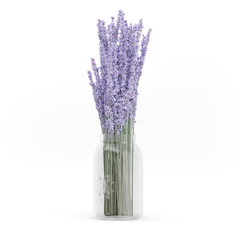 purple lupine glass jar 3d model