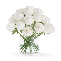 White Roses in Glass Vase