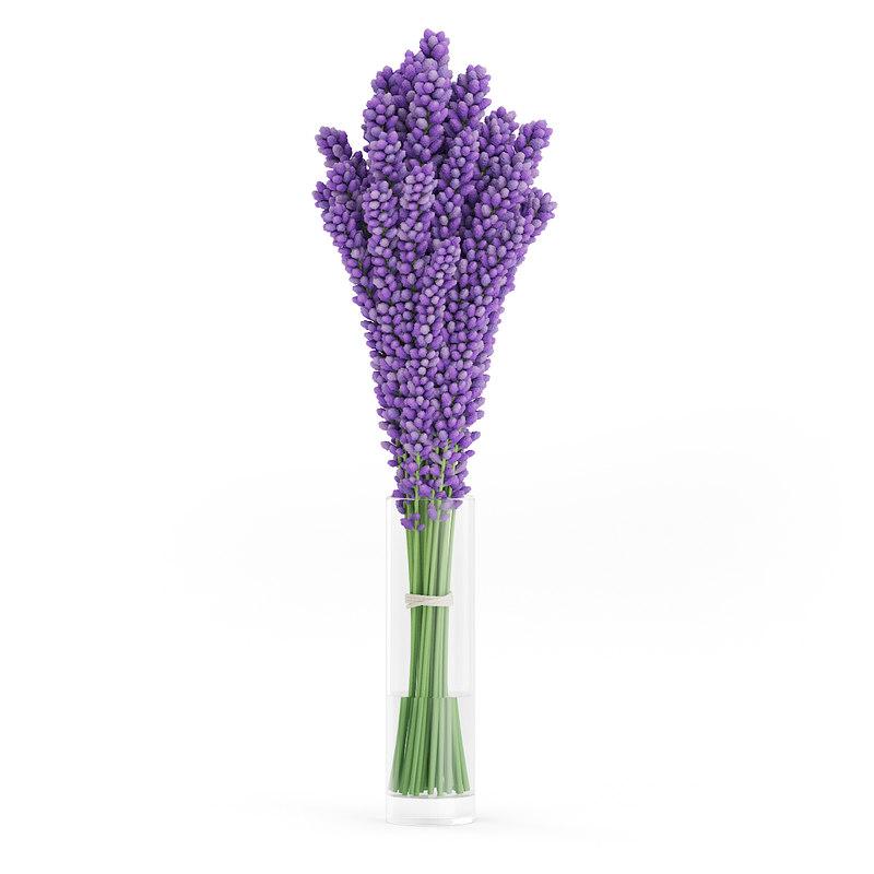 3d model violet lupine flowers glass vase