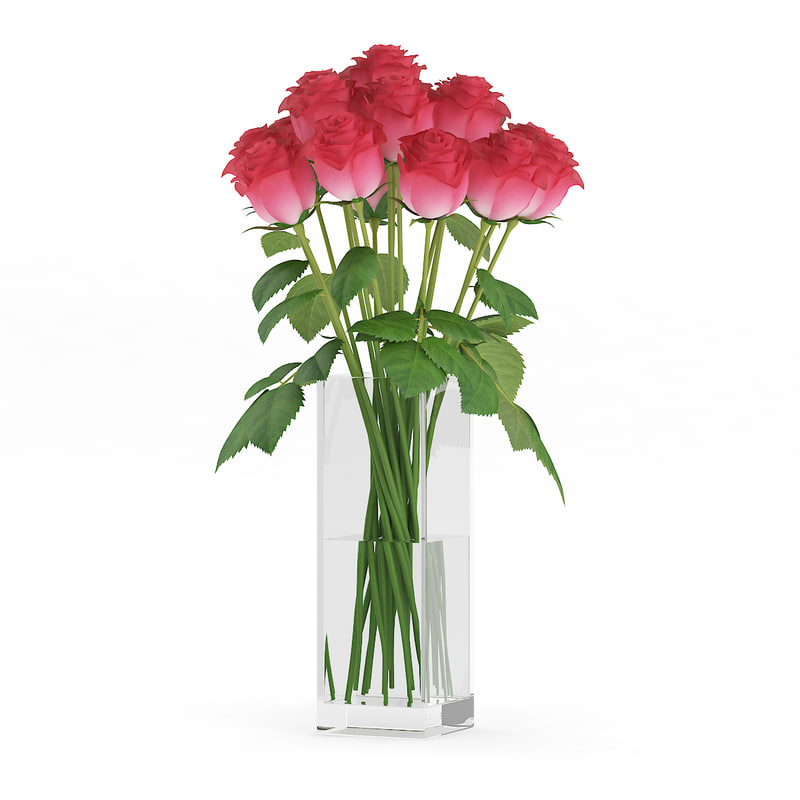 3d max bouquet red roses glass vase