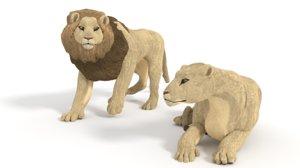 3d pack lions model