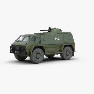 3d model russian gaz 3937 military vehicle
