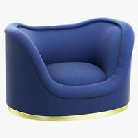 3d model brabbu dakota single sofa