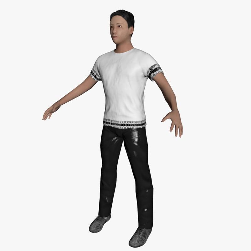 average caucasian male rigged 3d model
