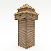 wood tower 3d model