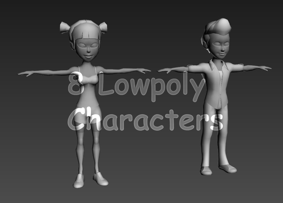 rigged characters 3d max