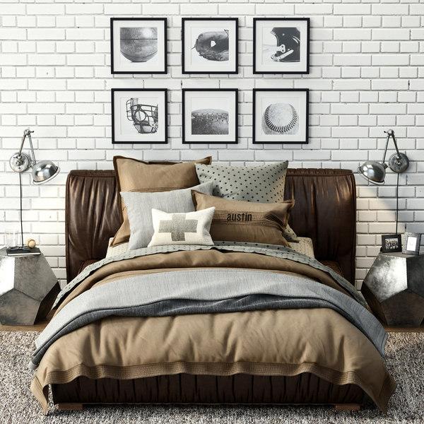 sona upholstered platform bed 3d max