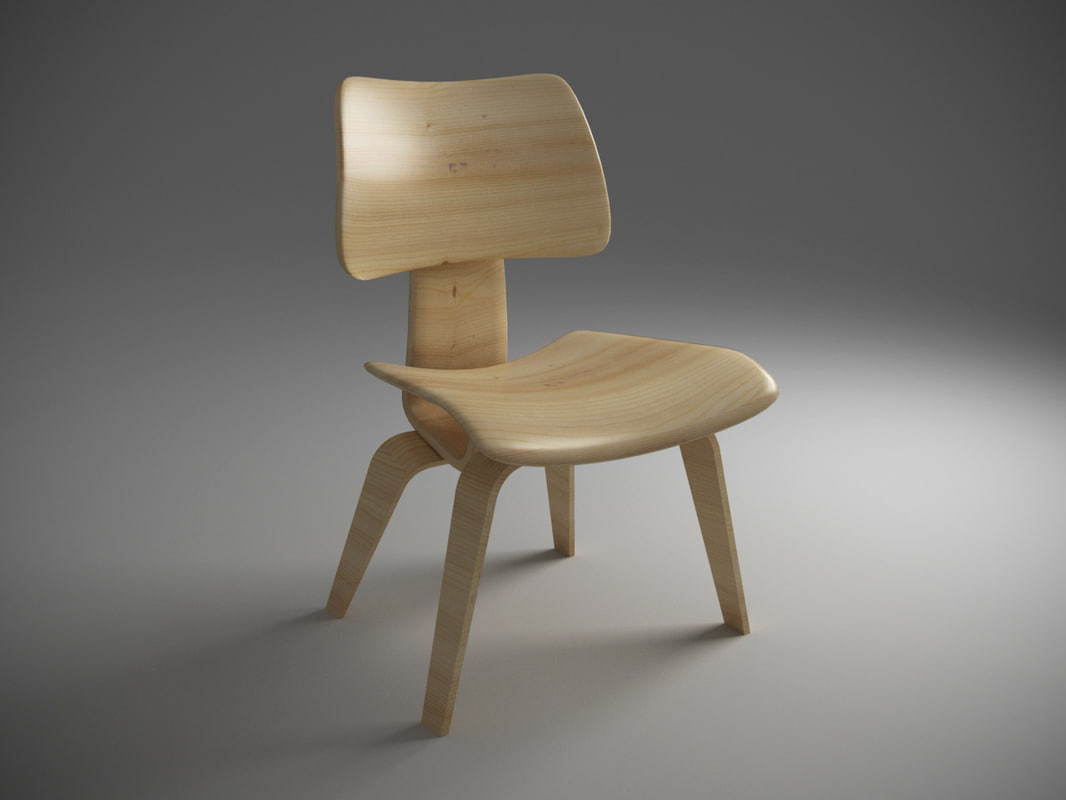 wood chair charles eames 3d max