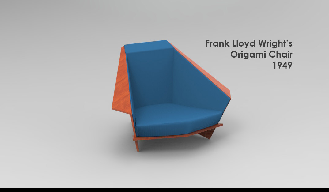 3d model of design origami chair
