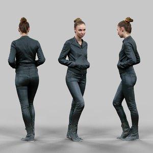 girl walking black shiny 3d model