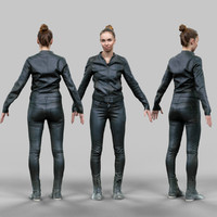 3d model girl black shiny outfit
