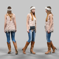 3d girl fluffy cardigan jeans