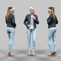 3d cute girl jeans leather jacket model