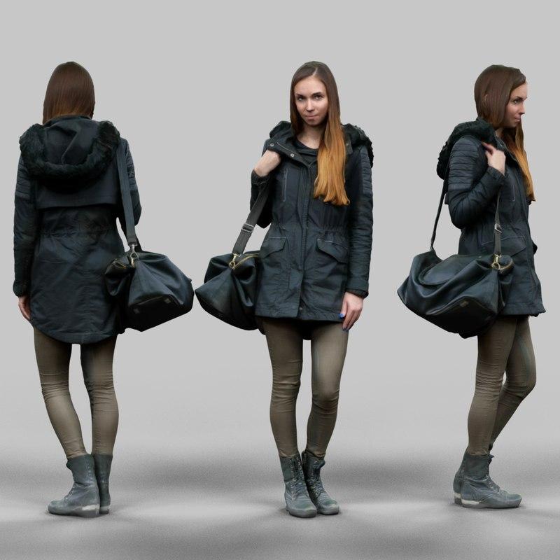 obj girl warm coat wearing