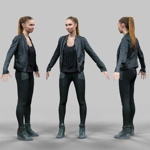 girl shiny black a-pose obj