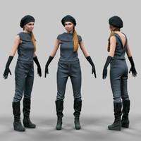 Futuristic girl A-Pose