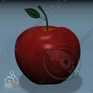 free apple cartoon 3d model