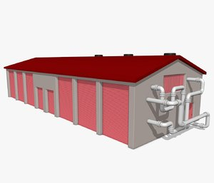 3d model industrial shed