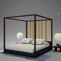 bed bedroom 3d 3ds