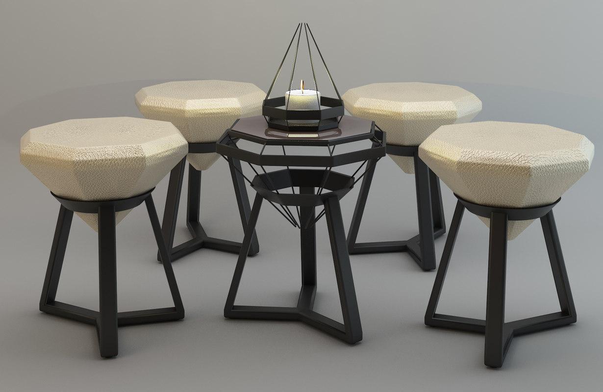 3d model octagon set