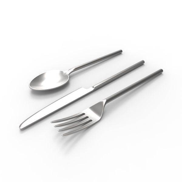 silverware silver 3d obj