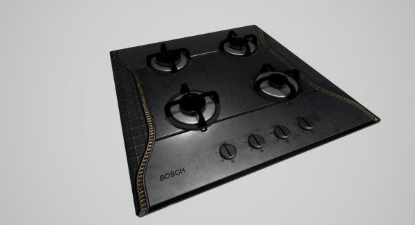 gas cooktop 3d max