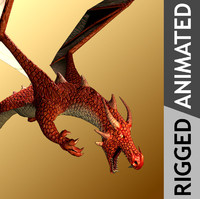 mythical red dragon 3d model