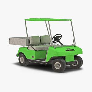 3d model of golf cart green rigged