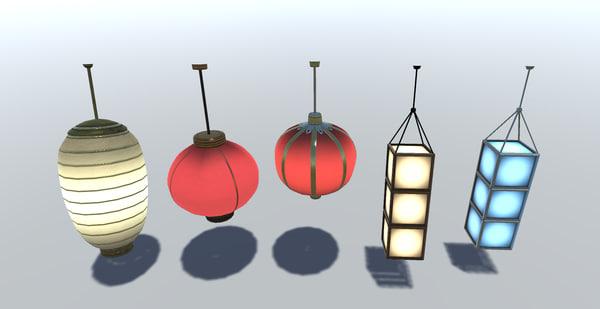 chinese lantern set obj