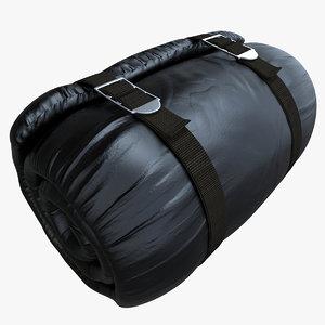 mattress rolled black 3d model