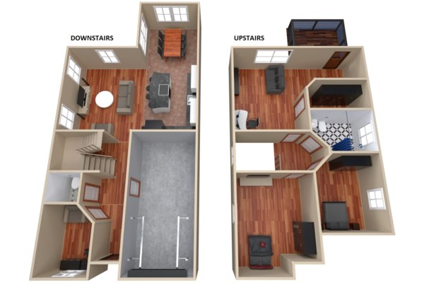 3d furnitured house interior floor model