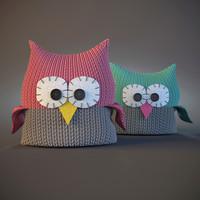 owl pillows childroom 3d obj